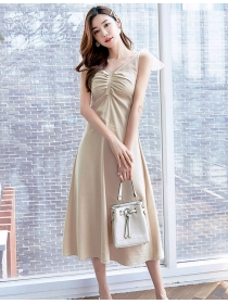 Grace Fashion 2 Colors Pleated Bust Sleeveless Long Dress