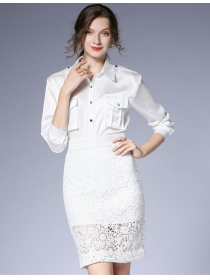 Grace Lady Shirt Collar Blouse with Lace Hollow Out Slim Skirt