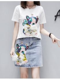 Korea Stylish Cartoon Sequins T-shirt with Slim Denim Skirt