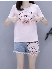 Lovely Fashion Sequins Cartoon Pig Slim Short Suits