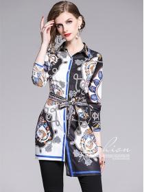 Retro Fashion Shirt Collar Tie Waist Flowers Blouse