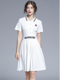 Europe Fashion 2 Colors Beads Flouncing Shirt Dress