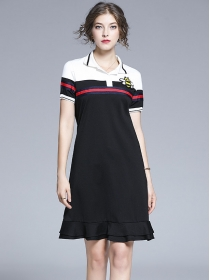 Preppy Girl Color Block Bee Embroidery Fishtail Polo Dress