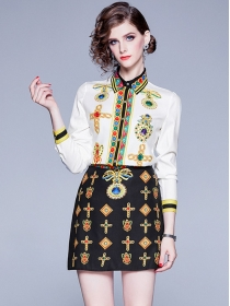 Europe Stylish Shirt Collar Printings Slim Dress Set