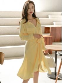Fashion Autumn Long Sleeve Shirt Dress with Tie Waist Split Skirt