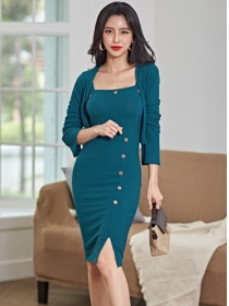 Autumn Fashion Knitting Tops with Single-breasted Straps Dress