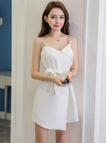 Wholesale Korea 3 Colors Tie Waist Pearl Straps A-line Dress