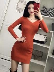 Fashion Autumn 3 Colors V-neck Long Sleeve Knitting Dress