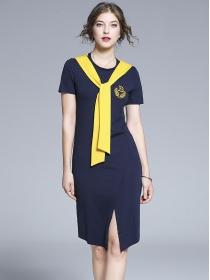 Vogue Wholesale Tie Color Block Round Neck Slim Dress