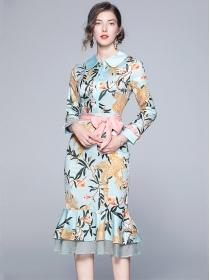 Grace Charm Doll Collar Tie Waist Flowers Fishtail Bodycon Dress