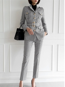 Quality Fashion Single-breasted Plaids Slim Two Pieces Suits