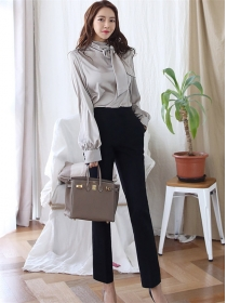 Elegant Lady Bowknot Collar Blouse with Straight Long Pants