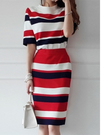 Fashion Lady Color Block Stripes Knitting Three Pieces Dress