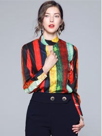 Hot Selling Stand Collar Color Block Stripes Blouse