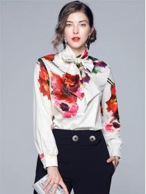 Pretty Lady Tie Bowknot Collar Flowers Loosen Blouse