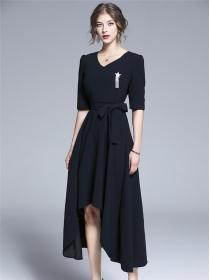 Boutique Fashion V-neck Star Brooch Tie Waist Dovetail Dress