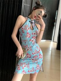 Lovely Sexy Off Shoulder Flowers Skinny Cheongsam Dress