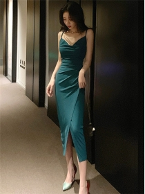 Charming Sexy 2 Colors Split Backless Straps Dress