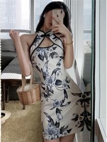 Retro Charming Flowers Printing Bodycon Cheongsam Dress