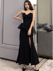 Modern Lady Flouncing Waist Split Strapless Prom Dress