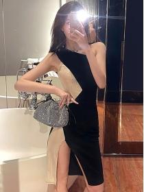 Sexy Lady Color Block Off Shoulder Skinny Tank Dress