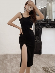 Sexy Fashion Waist Hollow Out Off Shoulder Slim Dress