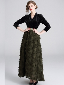 Boutique Fashion Elastic Waist Velvet Splicing Feather Long Dress