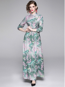 Charming Lady High Waist Shirt Collar Flowers Maxi Dress