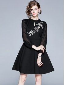 Autumn Fashion Flowers Embroidery Gauze Sleeve A-line Dress