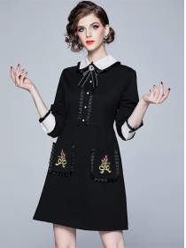 Modern Lady Bowknot Doll Collar Embroidery Pockets A-line Dress