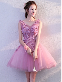 Charming Princess Beads Flowers Gauze Fluffy Party Dress