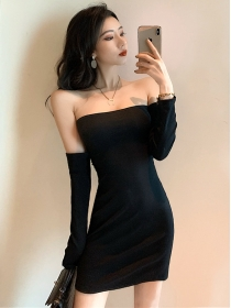 Wholesale Sexy Tie Backless Long Sleeve Strapless Dress