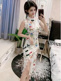 Sexy Charming Split Lace Splicing Flowers Cheongsam Dress