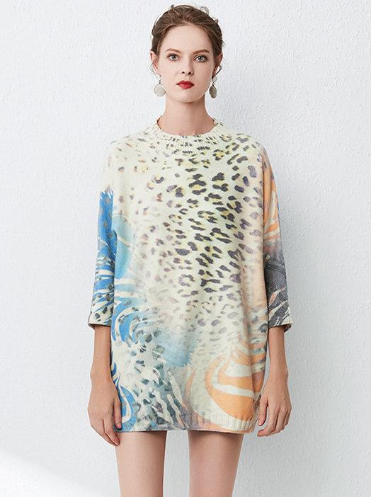 Fashion Autumn Leopard Flowers Loosen Sweater