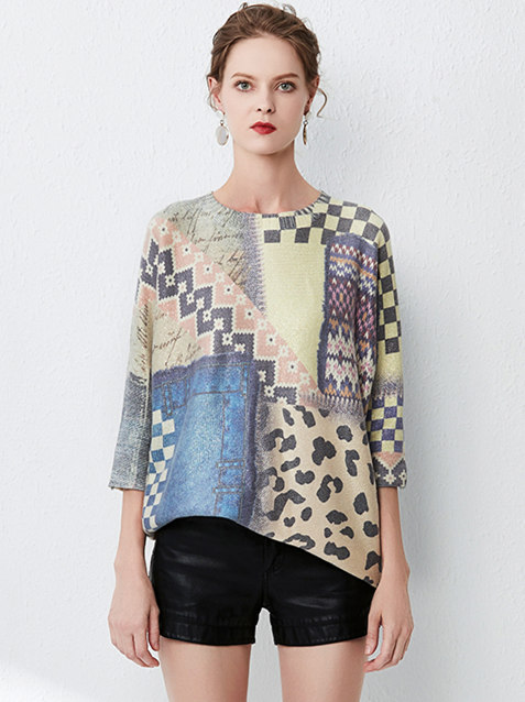 All Match Fashion Color Block Leopard Sweaters