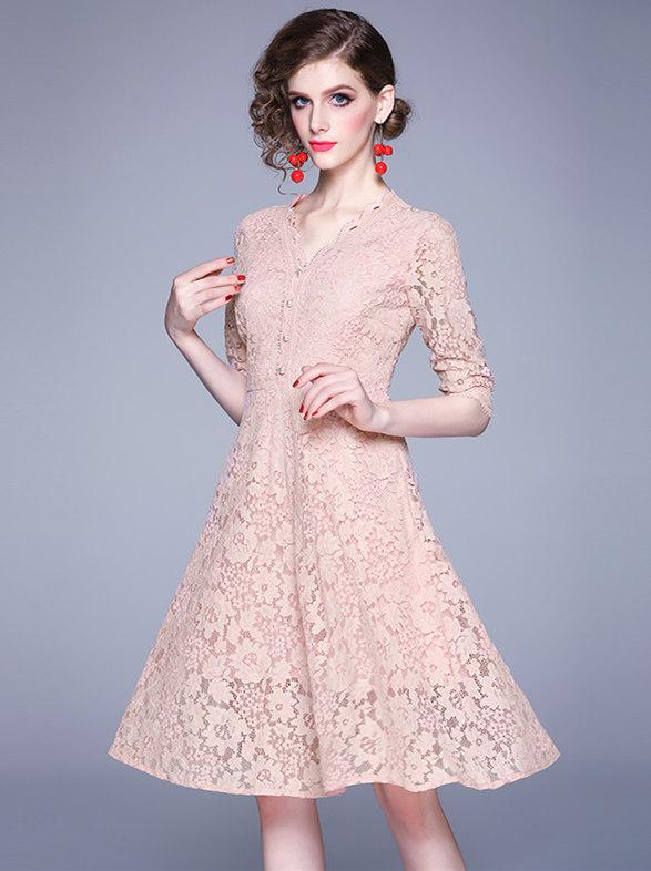 Modern Lady Beads V-neck Lace A-line Dress