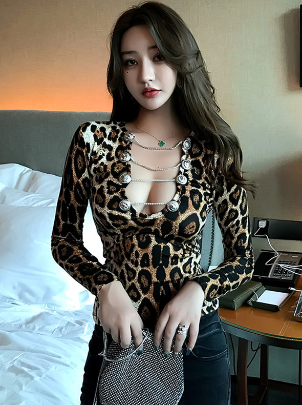 Sexy Fashion Chains Low Bust Leopard Slim T-shirt