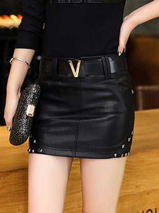 Simple Fashion Rivets Leather Short Skirt with Belt
