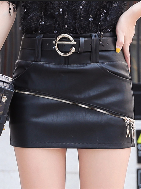 Fashion Korea Zipper Skinny Short Leather Skirt
