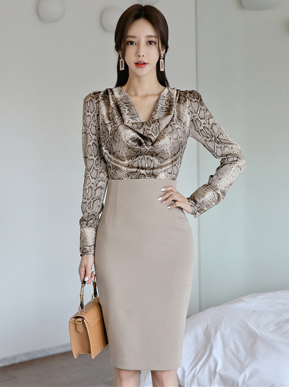 Grace Lady Snake Patterns Blouse with High Waist Midi Skirt