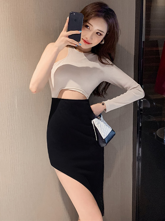 Sexy Korea Off Shoulder Hollow Out Skinny Sloping Dress