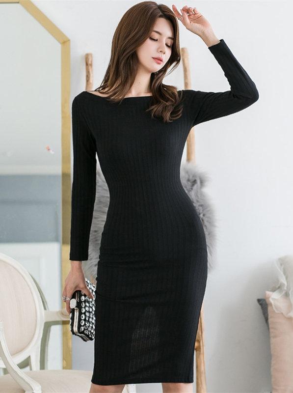 Wholesale Korea Round Neck Knitting Long Sleeve Dress