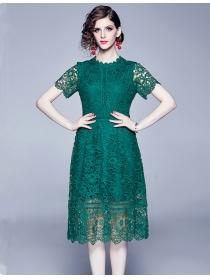 Grace Europe 2 Colors Lace Hollow Out A-line Dress