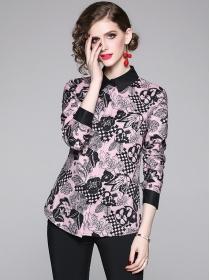 Fashion Wholesale Flowers Shirt Collar Long Sleeve Blouse
