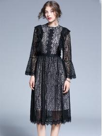Fashion Europe High Waist Lace Puff Sleeve Dress