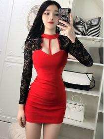Sexy Lady 2 Colors Low Bust Lace Sleeve Splicing Slim Dress