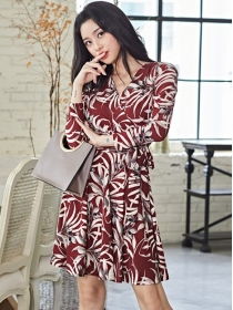 Wholesale Korea Tie Waist Flowers Printing A-line Dress