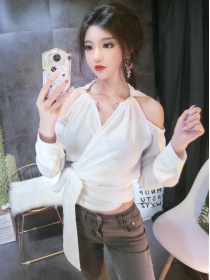 Korea Stylish 2 Colors Off Shoulder Tie Waist Halter T-shirt