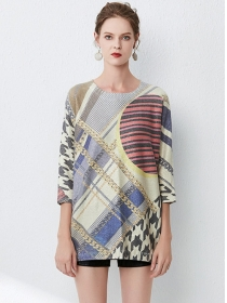 Europe Stylish Color Block Houndstooth Loosen Sweater