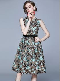 Wholesale Europe Round Neck Stripes Flowers Tank Dress